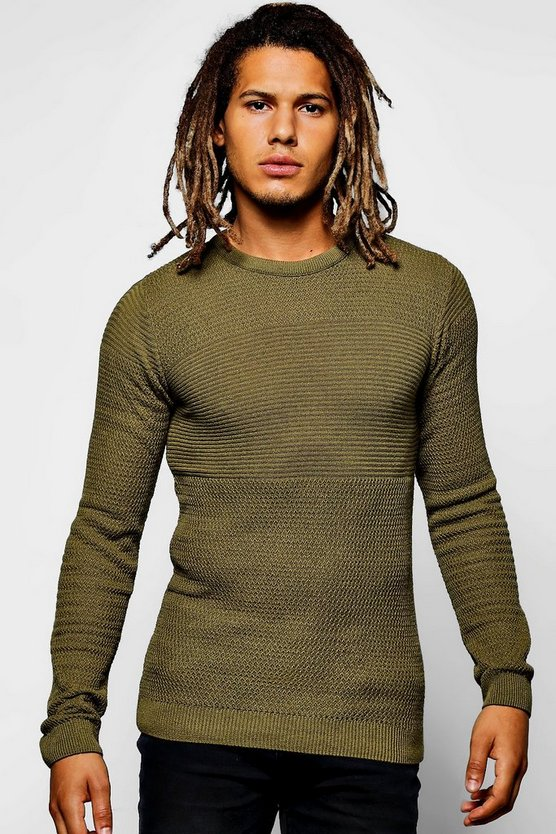 Muscle Fit Contrast Stitch Knitted Jumper