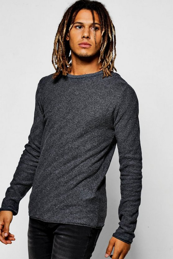 Diagonal Stich Crew Neck Jumper