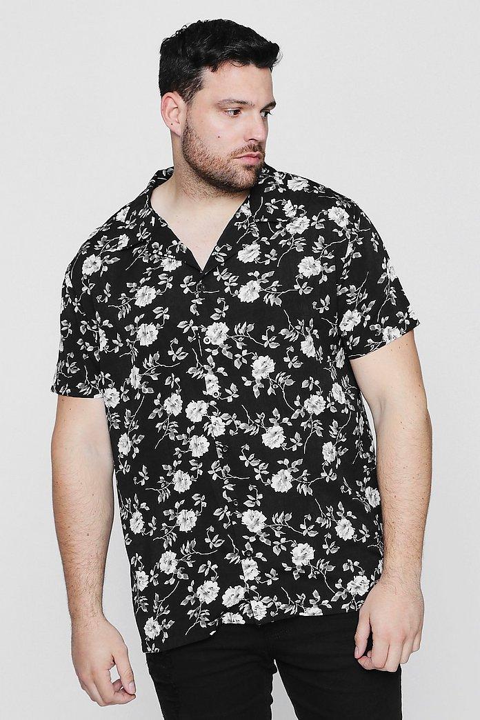 56e3f425 Big And Tall Black Floral Short Sleeve Shirt - boohooMAN