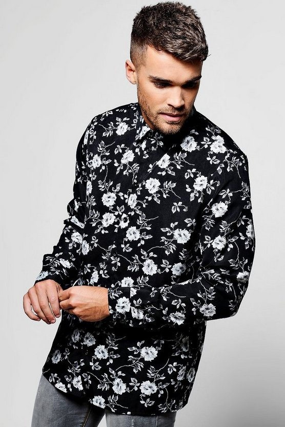 Mono Floral Long Sleeve Shirt