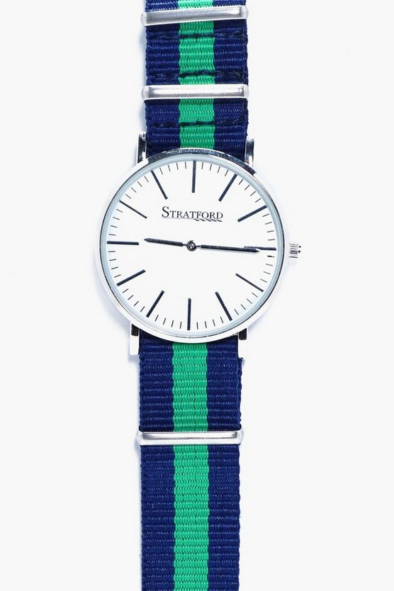 Stripe Canvas Strap Watch