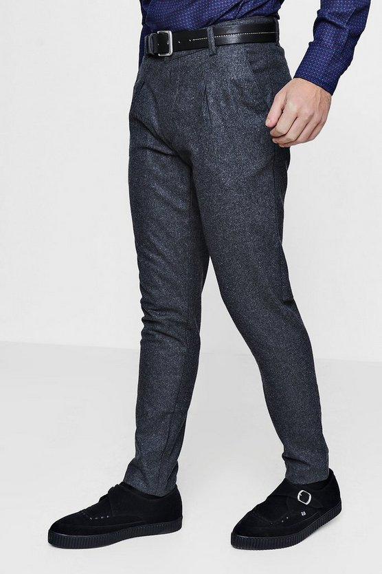 Charcoal Wool Mix Tailored Trousers