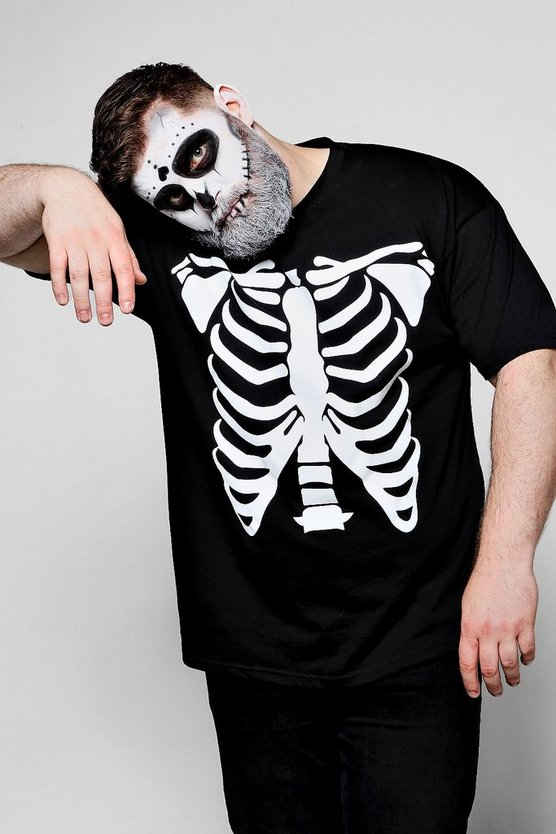 Big and Tall Halloween-T-Shirt mit Skelett-Aufdruck