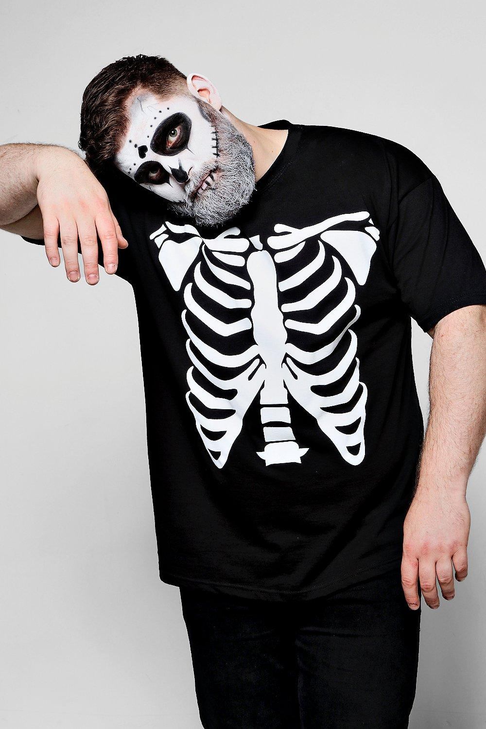 Perfect Big And Tall Halloween Skeleton Print T Shirt | Boohoo