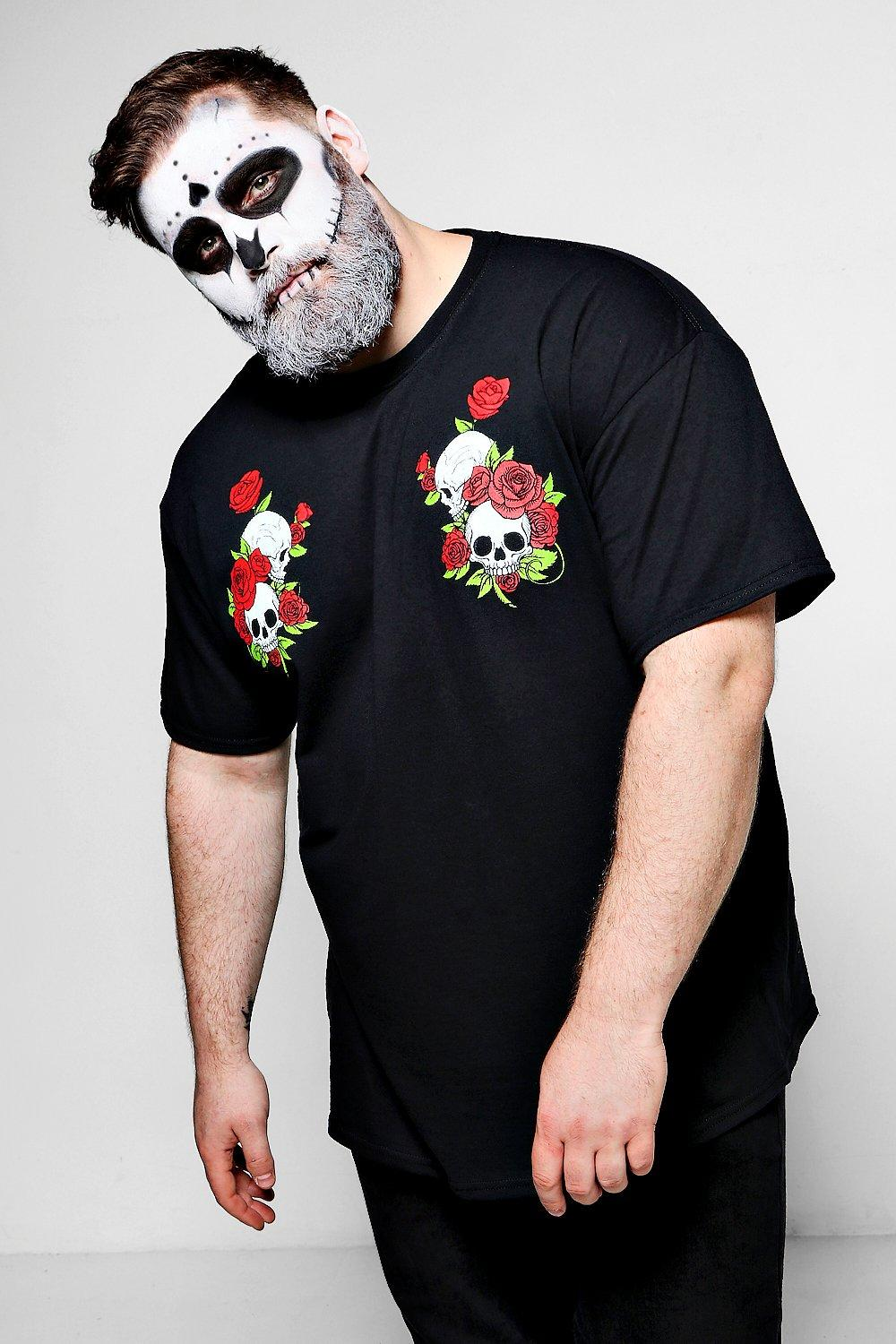 Big And Tall Halloween Skull And Rose T Shirt | Boohoo
