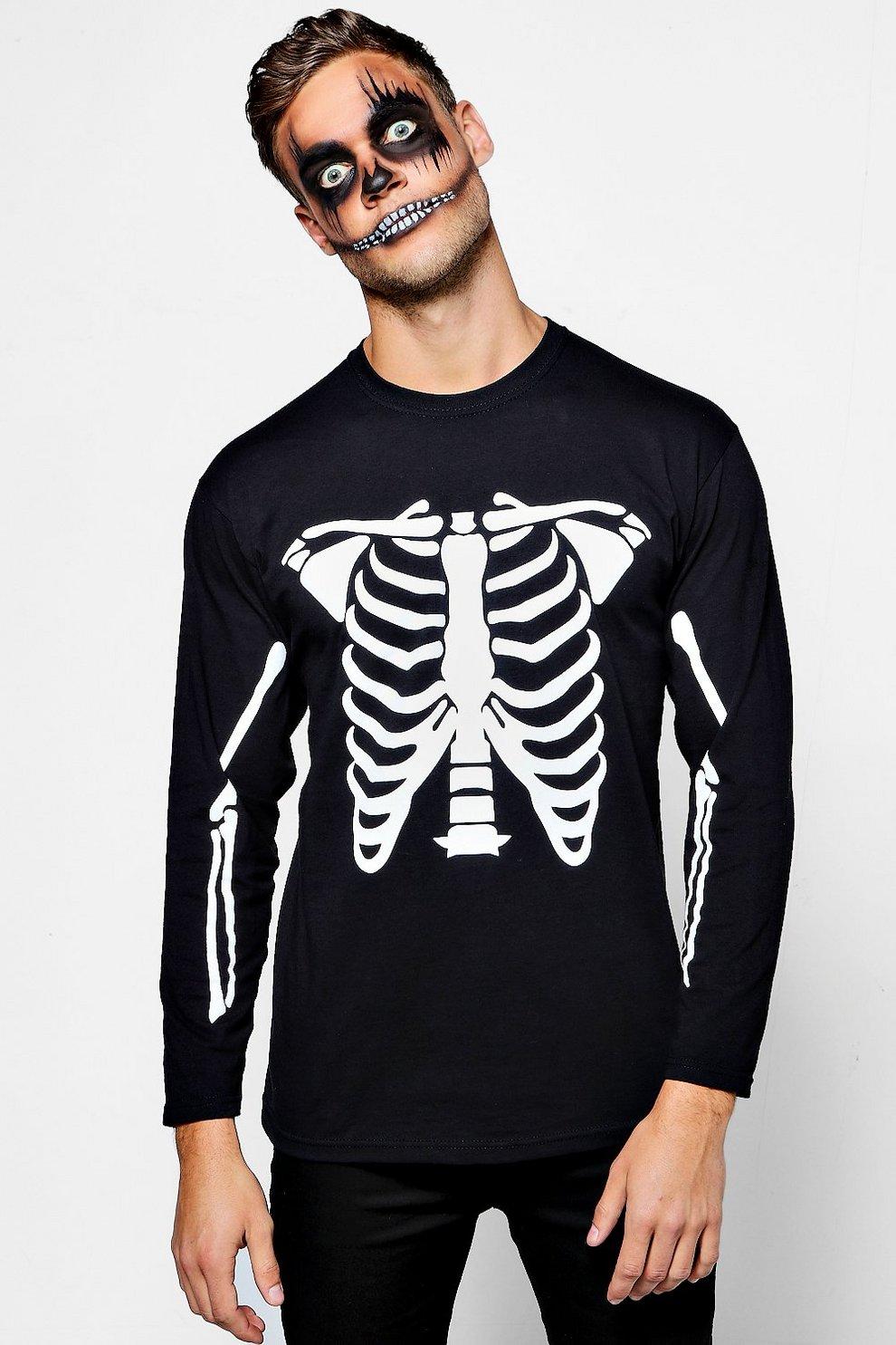 55642650c69 Mens Black Long Sleeve Halloween Skeleton T-Shirt