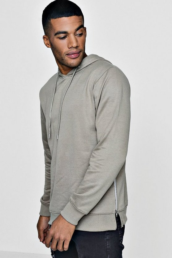Over The Head Hoodie With Side Zip Detail