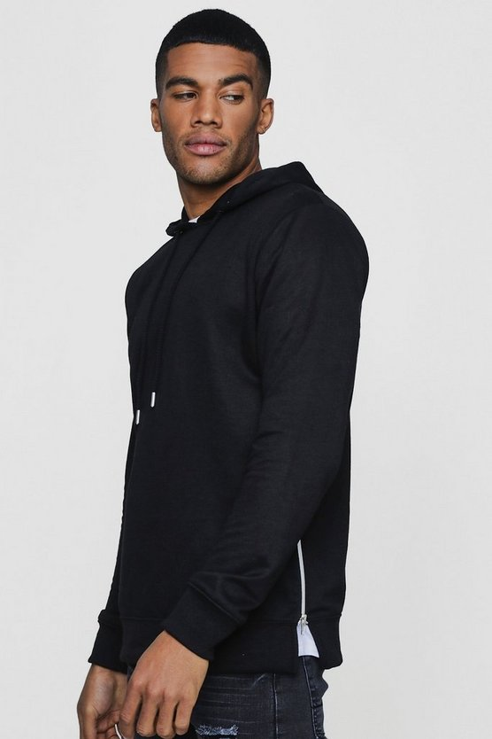 Over The Head Hoodie With Side Zip Detail, Black, Uomo