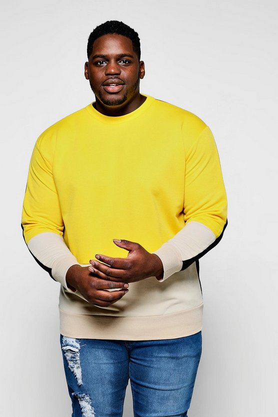 Big And Tall Contrast Crew Neck Sweat