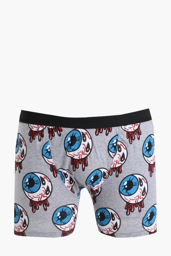 Mens Grey Halloween Eyeball Print Boxers