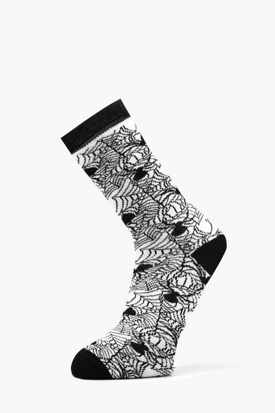 Mens White Spider Web Halloween Socks