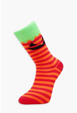 Mens Orange Pumpkin Halloween Socks