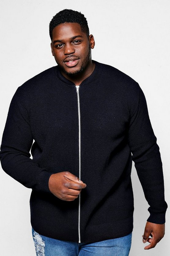 Big And Tall Textured Knitted Bomber
