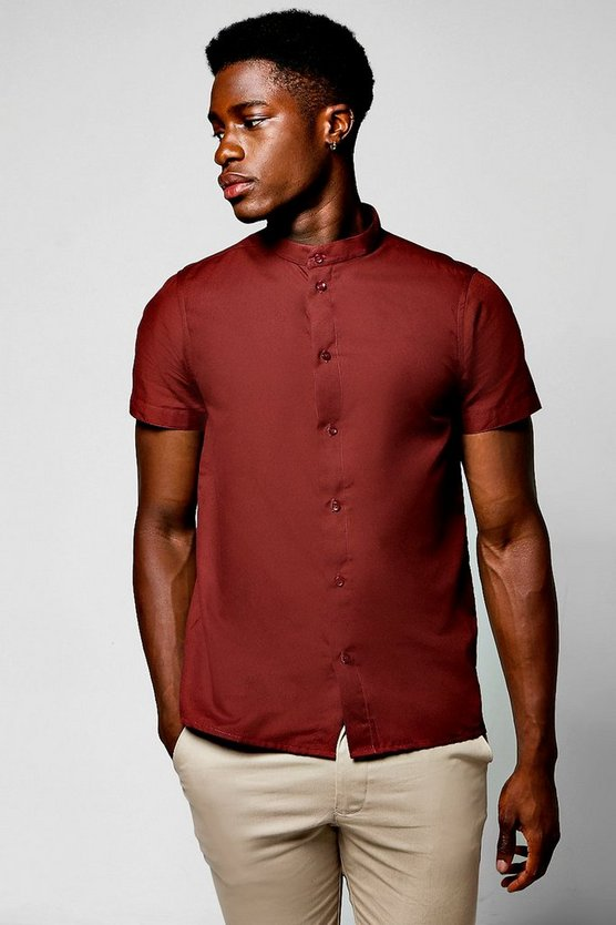 Slim Fit Short Sleeve Grandad Collar Shirt