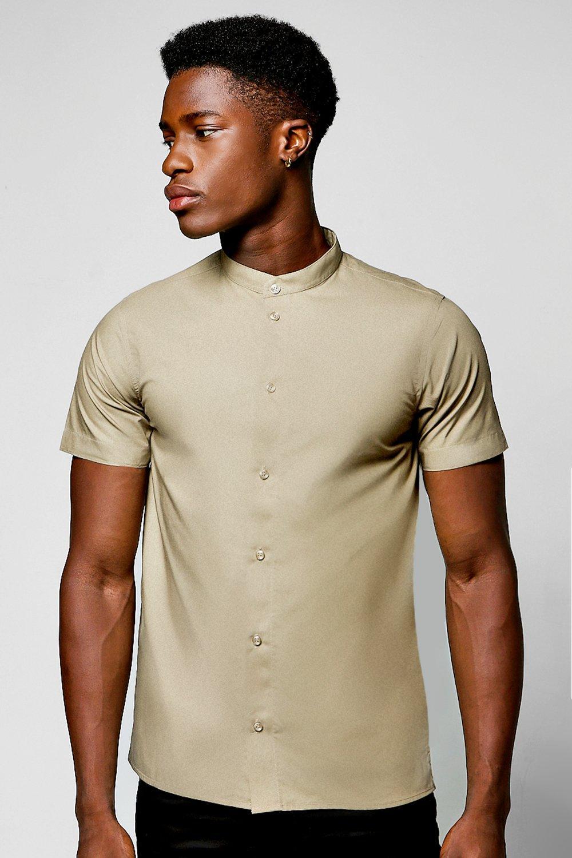 5dd65c697baf27 Mens Khaki Slim Fit Short Sleeve Grandad Collar Shirt. Hover to zoom. Close  video