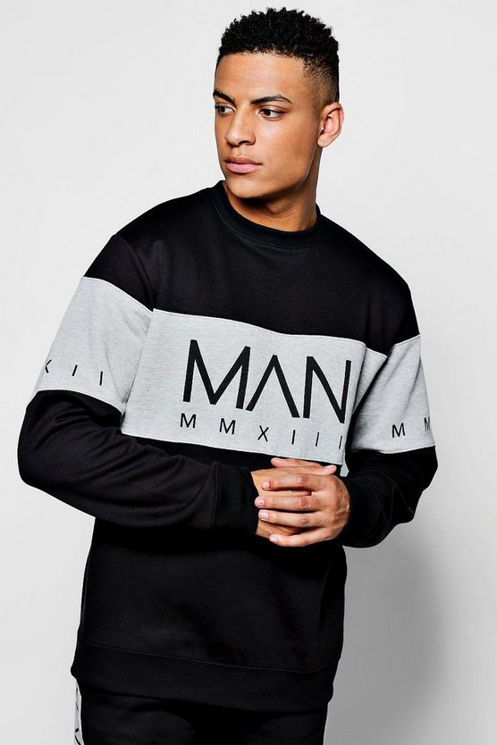 Loose Fit MAN Sweater In Colour Block