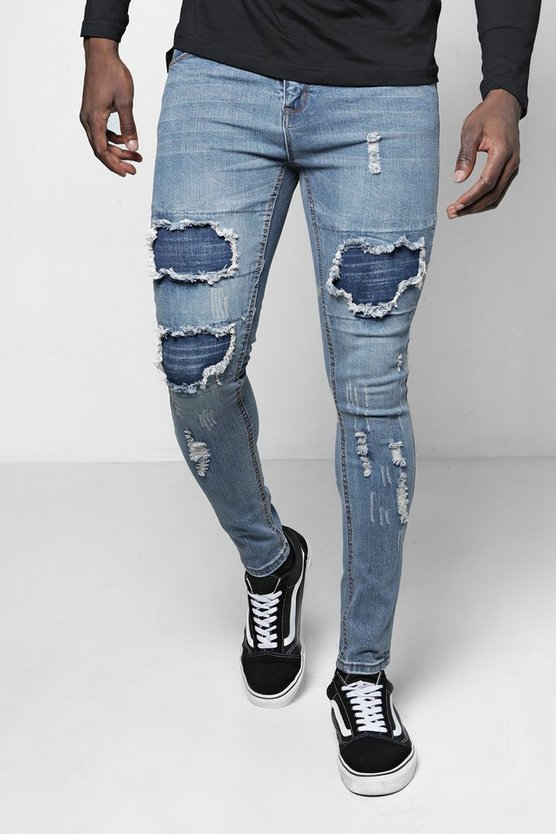 Mid Blue Super Skinny Rip & Repair Jeans