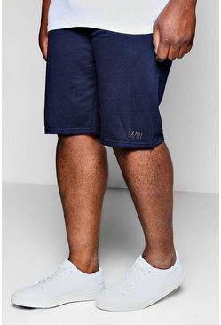 Mens Navy Big And Tall MAN Jersey Basket Ball Shorts