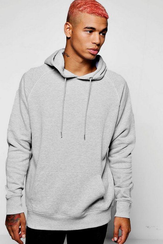 Mens Grey Raglan Over The Head Hoodie With Piping