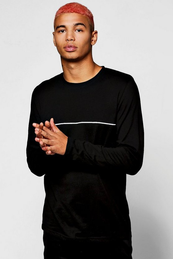 Long Sleeve T-Shirt With Piping, Black, Uomo