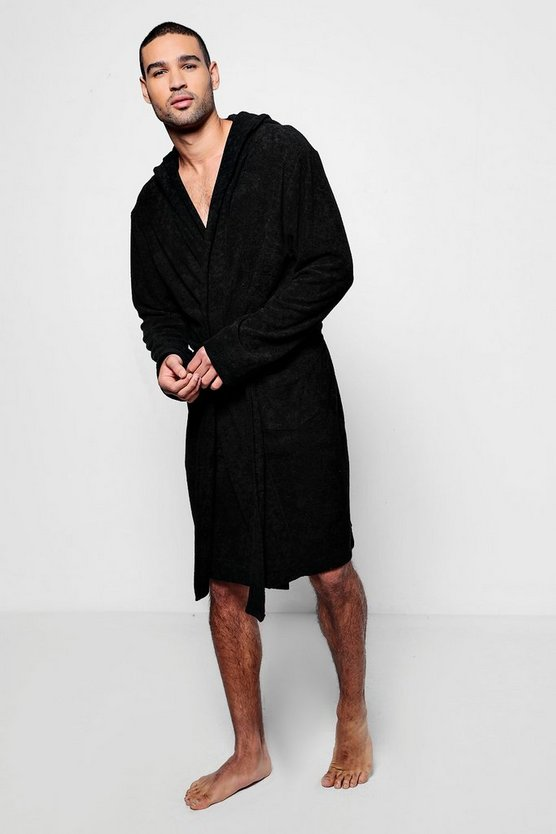 Black Hooded Dressing Gown In Towelling
