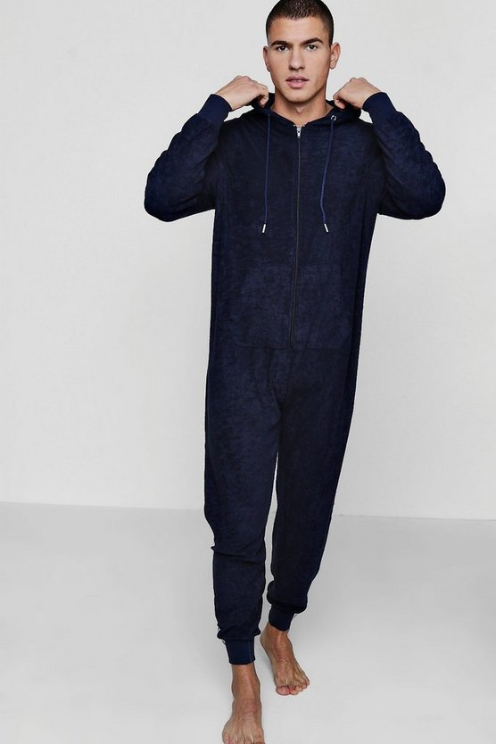 Navy Towelling Lounge Onesie