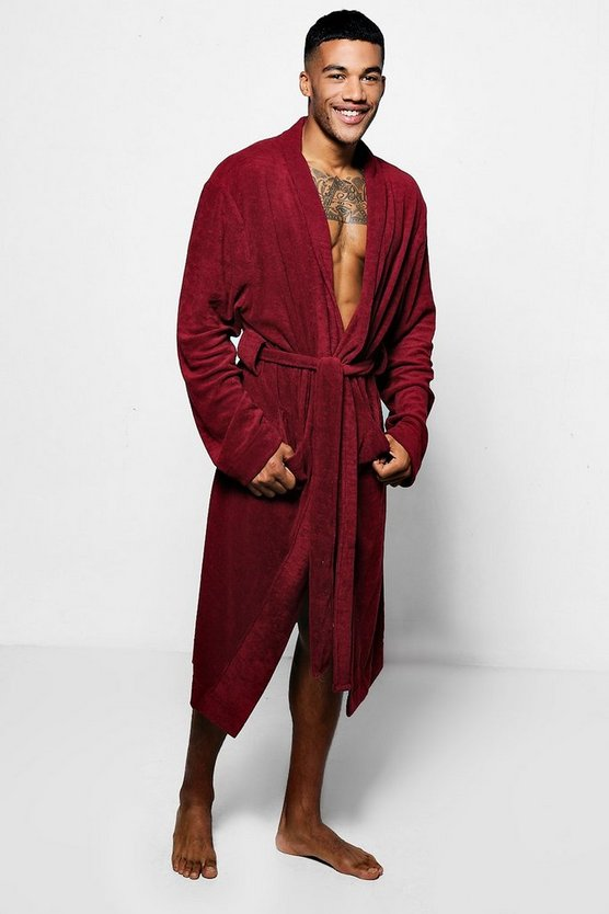 Burgundy Dressing Gown In Towelling