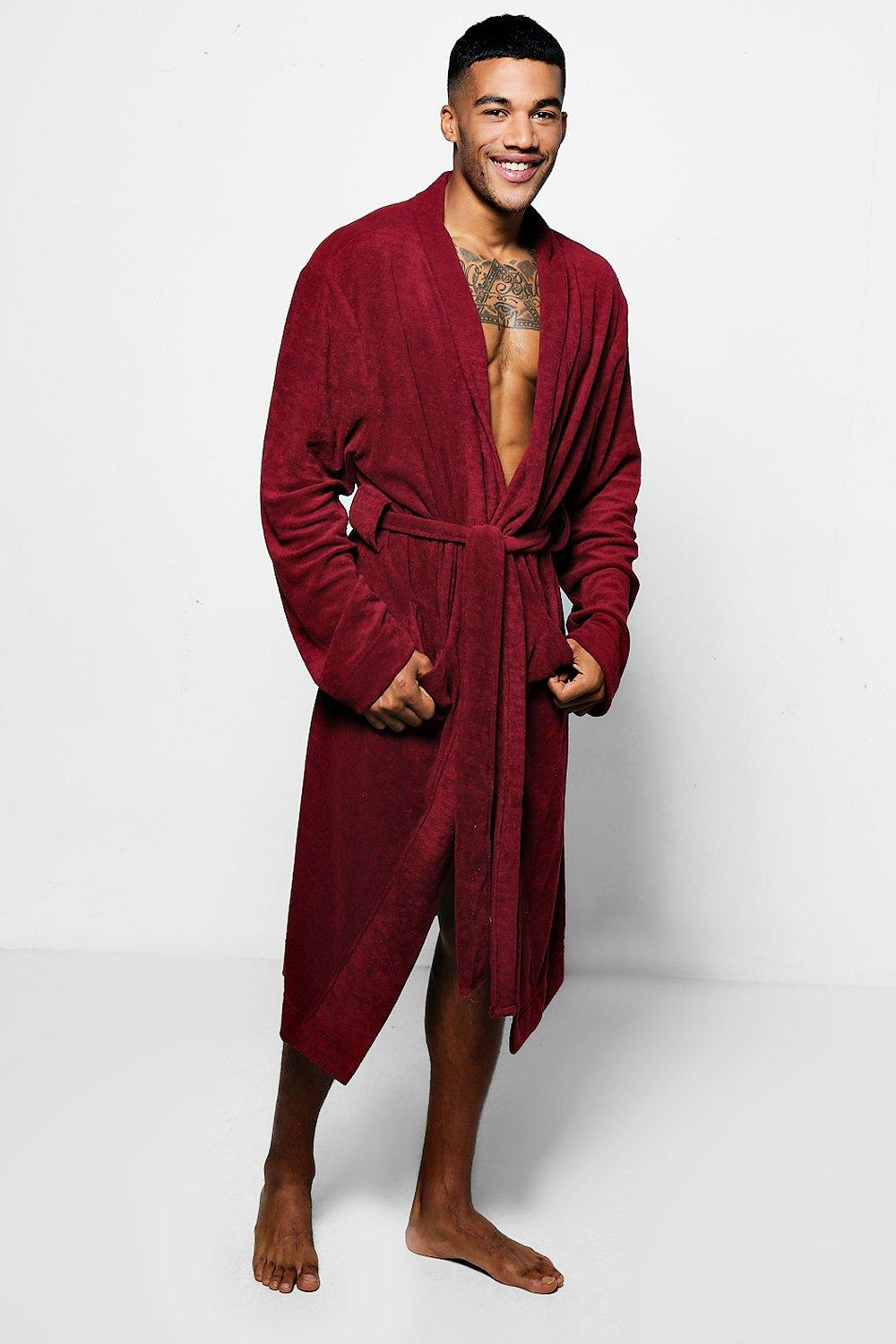 Burgundy Dressing Gown In Towelling | Boohoo