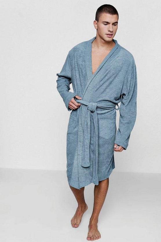 Grey Dressing Gown In Towelling