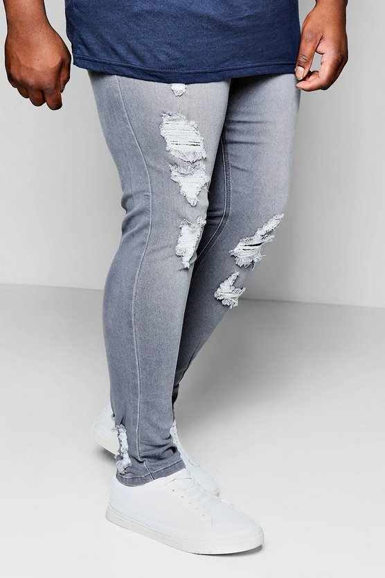 Big And Tall Distressed Ankle Detail Skinny Jean
