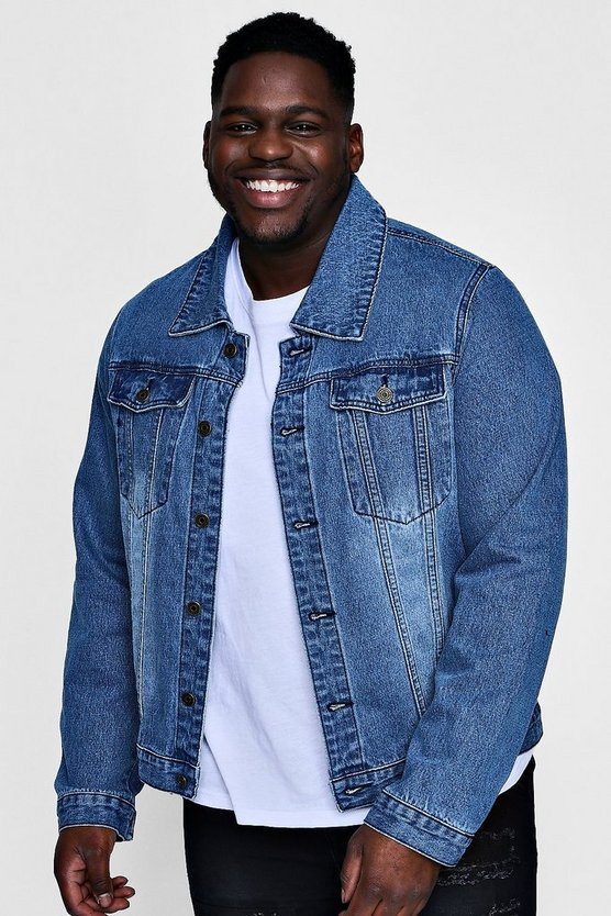 Big And Tall Overdyed Washed Denim Jacket