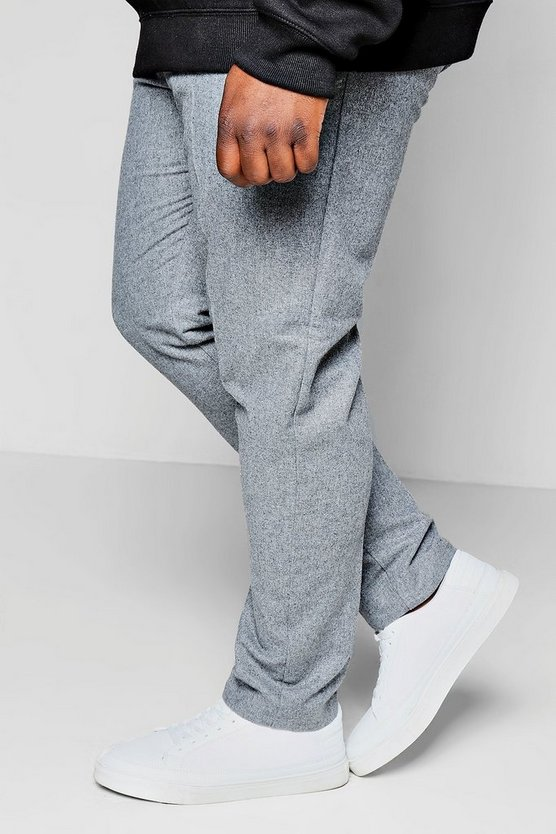 Big And Tall Draw String Wool Mix Tapered Trouser