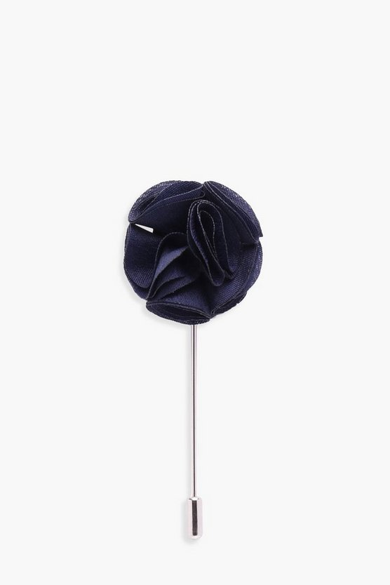 Navy Floral Lapel Pin