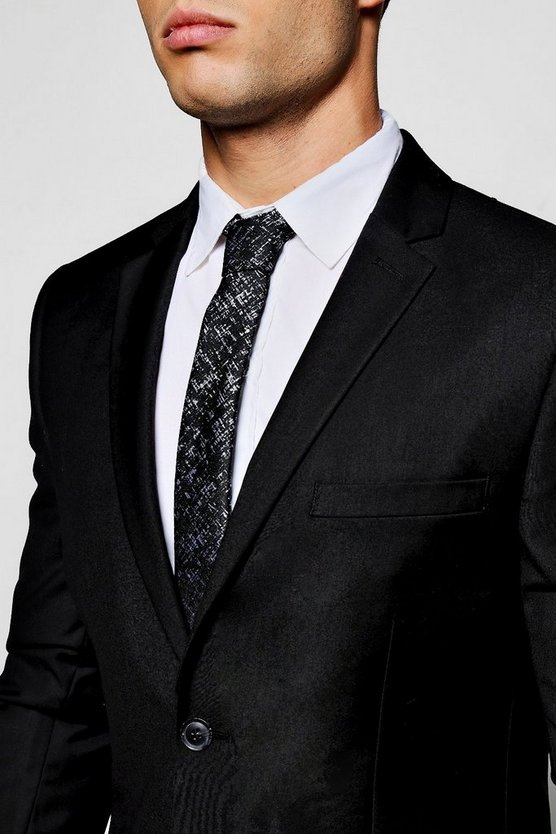 Black Cross Hatch Skinny Tie