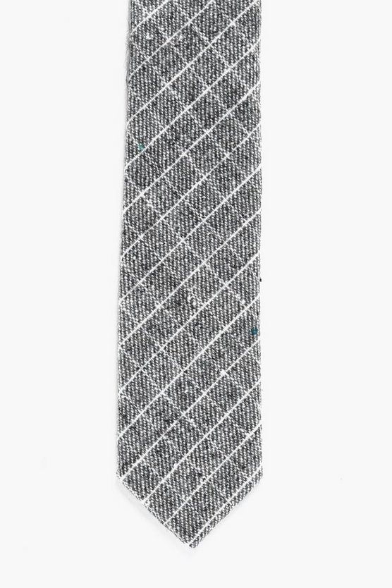Grey Brushed Check Skinny Tie