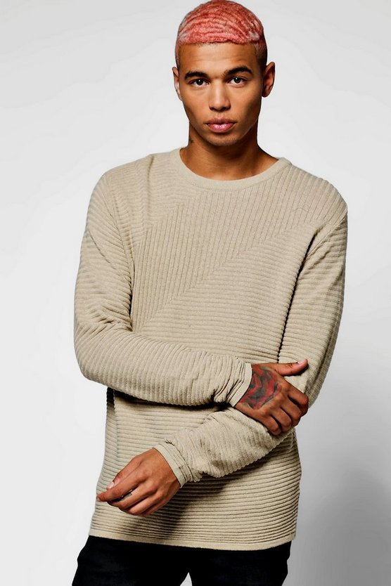 Blocked Ribbed Crew Neck Jumper