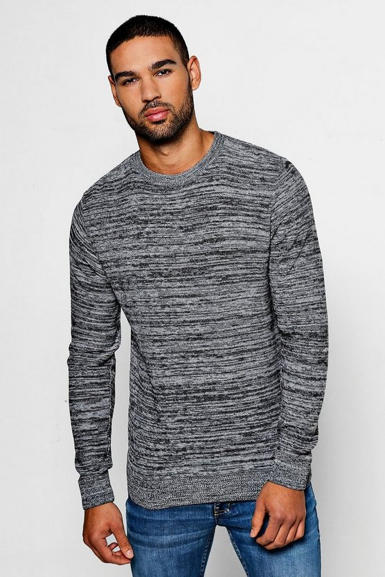 Mens Black Space Dye Crew Neck Jumper