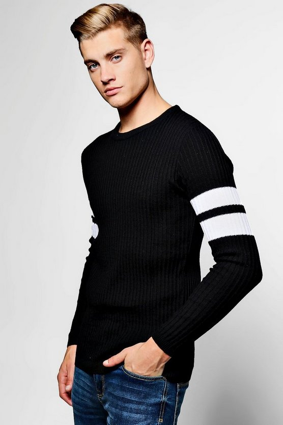 Contrast Arm Band Ribbed Crew Neck Jumper