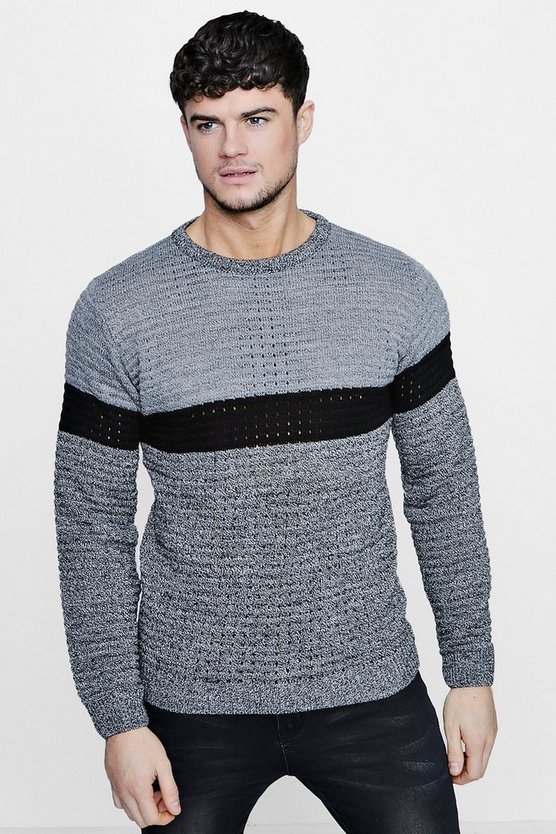 Twisted Colour Block Stripe Crew Neck Jumper
