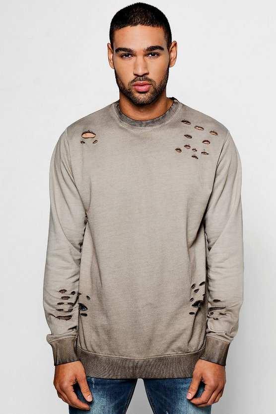Distressed Sweater In Stone Wash