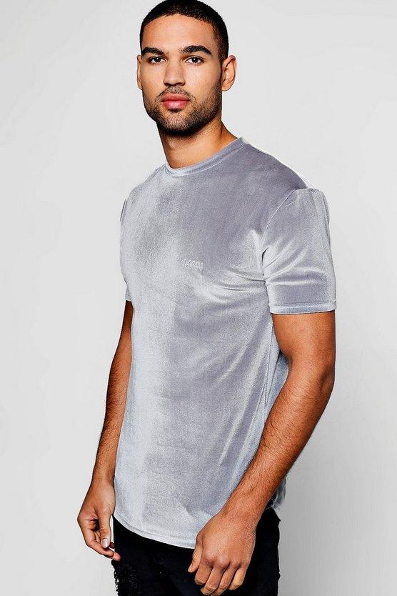 MAN Velour T-Shirt In Muscle Fit