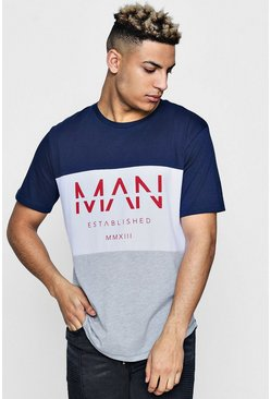 Mens Navy Colour Block MAN T-Shirt With Curved Hem