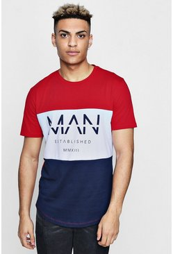 T-shirt colorblock MAN, Red, Homme
