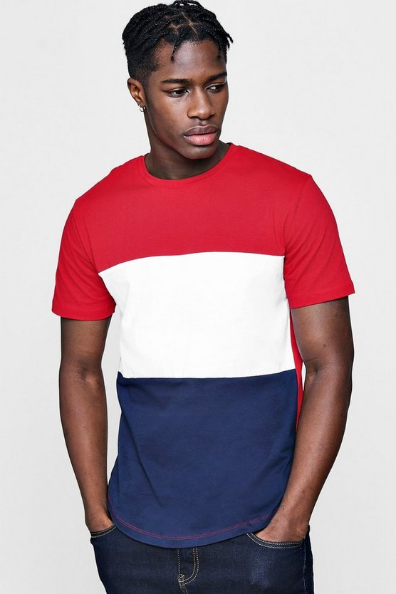 Colour Block T-Shirt With Curved Hem