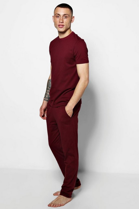 Wine MAN Jersey Trouser Pyjama Set