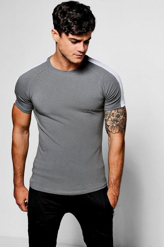 Mens Gun metal Muscle Fit MAN Raglan Panel T-Shirt