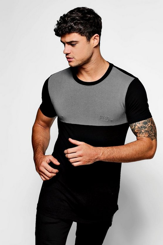 Gun metal Longline MAN Muscle Fit Colour Block T-Shirt