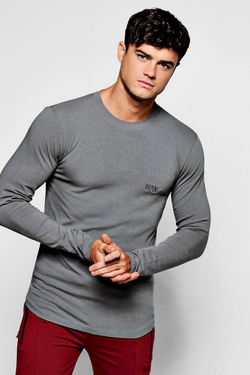 3e63159481c MAN Branded Long Sleeve Muscle Fit T-Shirt | Boohoo