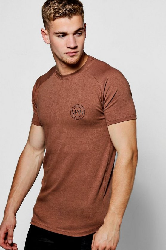 Mens Brown MAN Logo Print Muscle Fit Raglan T-Shirt