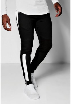 Mens Black Biker Panel Tapered Skinny Fit MAN Joggers
